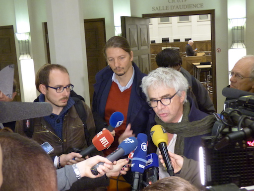 Mr Bourdon and Antoine, interviewed by journalists after the hearing