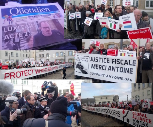 Photomontage summarizing the opening day of the LuxLeaks appel trial