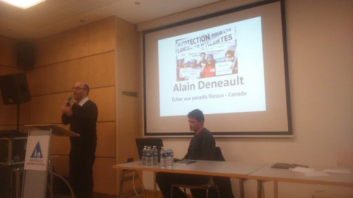 Alain Deneault, speaking on Sunday evening