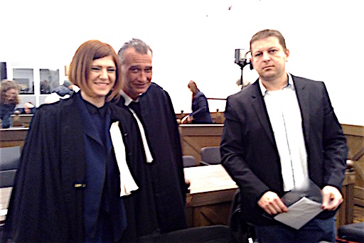 Raphaël Halet and his lawyers, in the courtroom