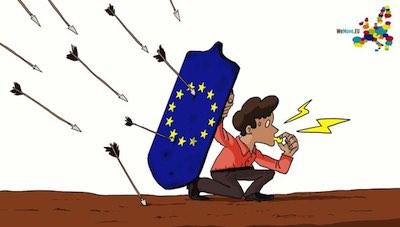 Un lanceur d'alerte se protégeant derrière un bouclier européen.