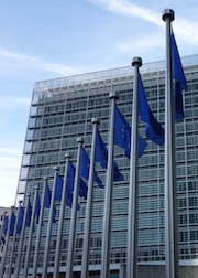 Europen flagpoles in front of the European Commission building in Brussels