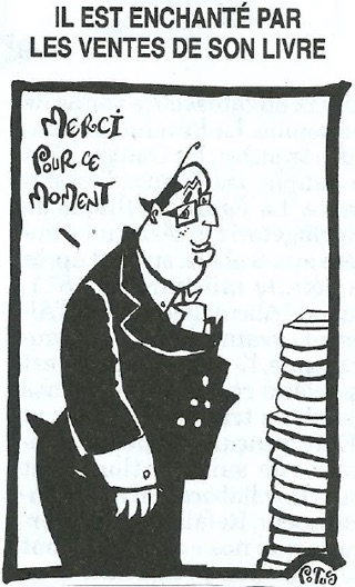 """Dessin: Hollande devant une pile de livre disant """"Merci pour ce moment"""" (Potus, pour le Canard Enchaîné)"""