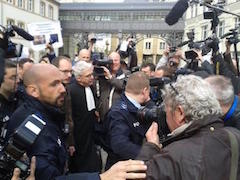 Antoine with journalists, after the first hearing